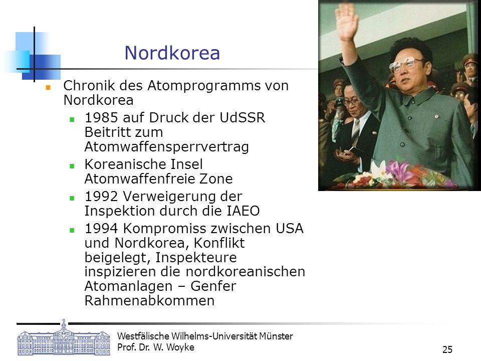Westfälische Wilhelms-Universität Münster Prof. Dr. W. Woyke 25 Nordkorea Chronik des Atomprogramms von Nordkorea 1985 auf Druck der UdSSR Beitritt zu