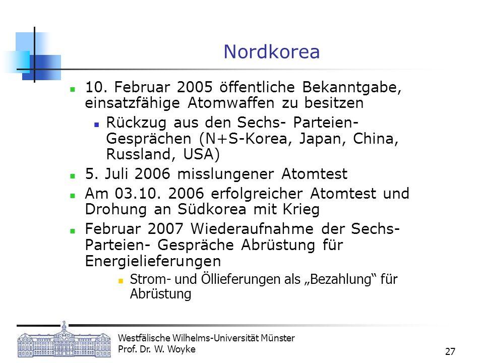 Westfälische Wilhelms-Universität Münster Prof. Dr. W. Woyke 27 Nordkorea 10. Februar 2005 öffentliche Bekanntgabe, einsatzfähige Atomwaffen zu besitz