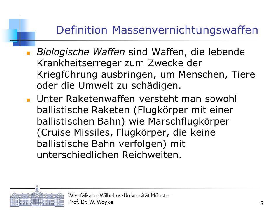 Westfälische Wilhelms-Universität Münster Prof. Dr. W. Woyke 3 Definition Massenvernichtungswaffen Biologische Waffen sind Waffen, die lebende Krankhe
