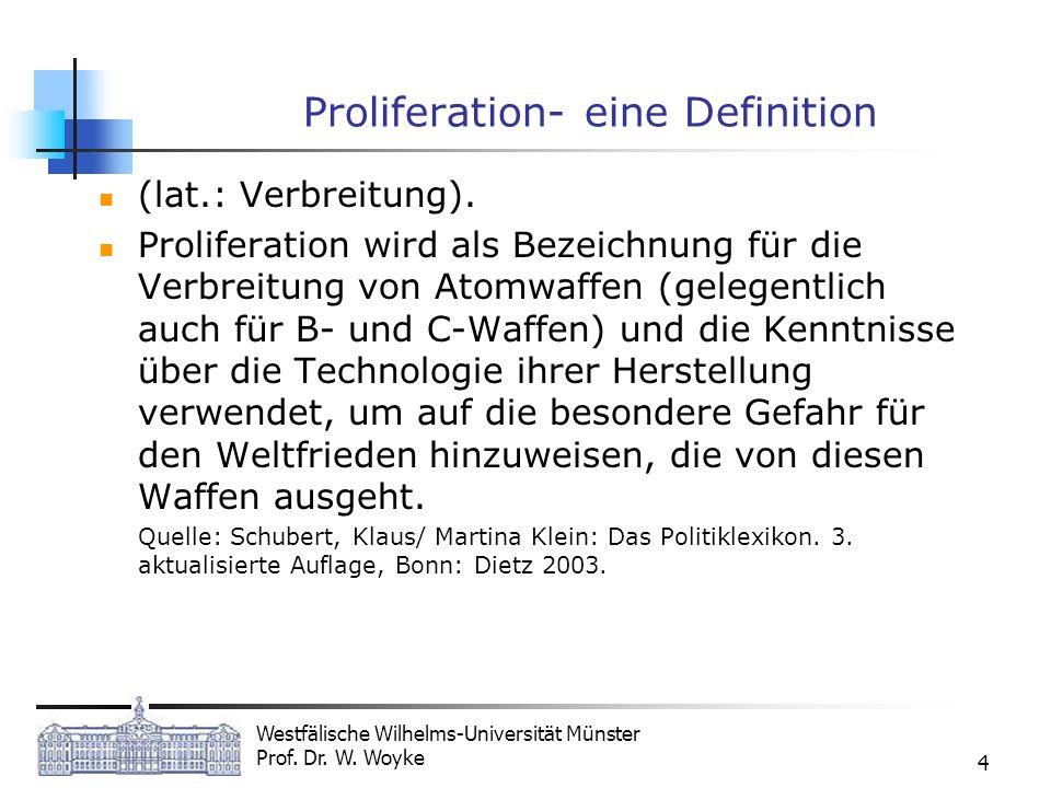 Westfälische Wilhelms-Universität Münster Prof. Dr. W. Woyke 4 Proliferation- eine Definition (lat.: Verbreitung). Proliferation wird als Bezeichnung