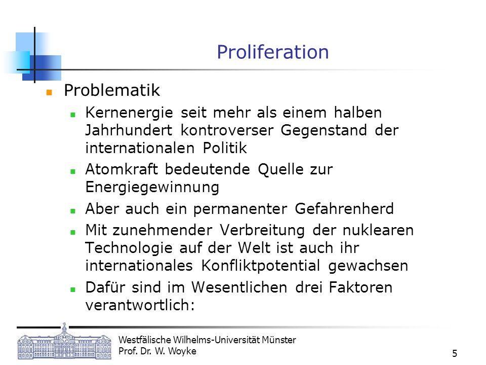 Westfälische Wilhelms-Universität Münster Prof. Dr. W. Woyke 5 Proliferation Problematik Kernenergie seit mehr als einem halben Jahrhundert kontrovers