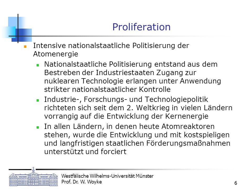 Westfälische Wilhelms-Universität Münster Prof. Dr. W. Woyke 6 Proliferation Intensive nationalstaatliche Politisierung der Atomenergie Nationalstaatl
