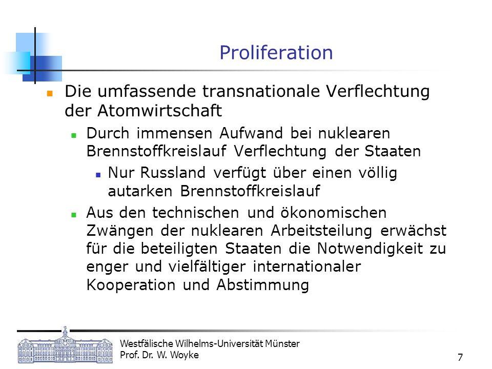 Westfälische Wilhelms-Universität Münster Prof. Dr. W. Woyke 7 Proliferation Die umfassende transnationale Verflechtung der Atomwirtschaft Durch immen