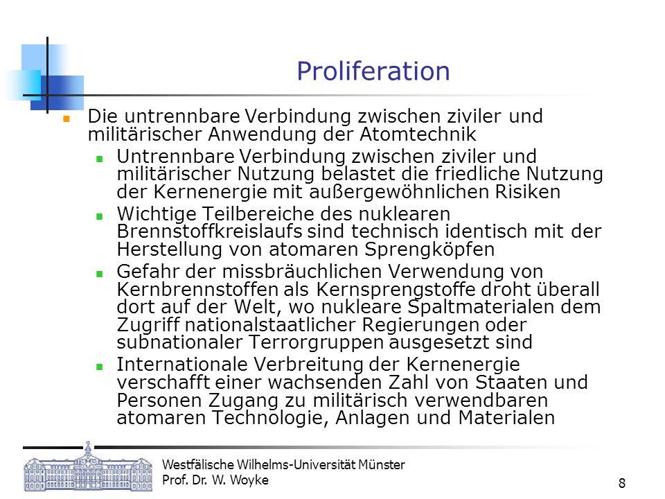 Westfälische Wilhelms-Universität Münster Prof. Dr. W. Woyke 8 Proliferation Die untrennbare Verbindung zwischen ziviler und militärischer Anwendung d