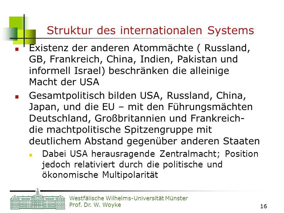 Westfälische Wilhelms-Universität Münster Prof. Dr. W. Woyke 16 Struktur des internationalen Systems Existenz der anderen Atommächte ( Russland, GB, F