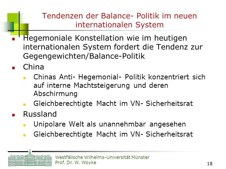 Westfälische Wilhelms-Universität Münster Prof. Dr. W. Woyke 18 Tendenzen der Balance- Politik im neuen internationalen System Hegemoniale Konstellati