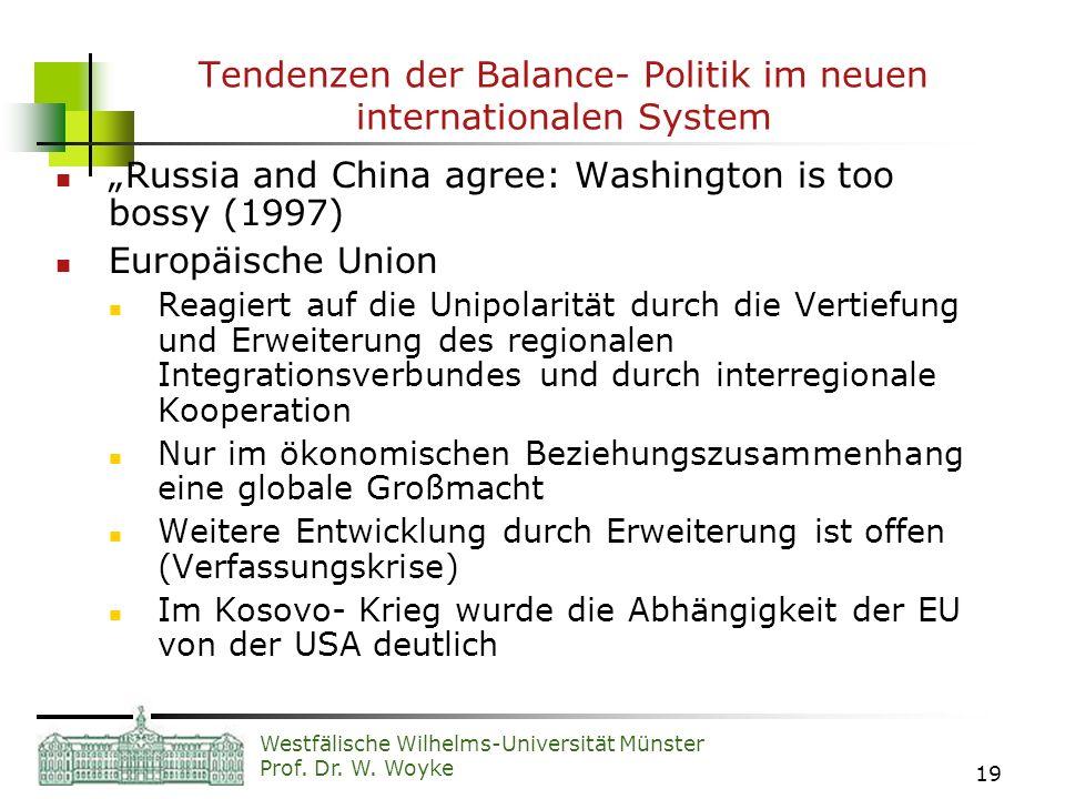 Westfälische Wilhelms-Universität Münster Prof. Dr. W. Woyke 19 Tendenzen der Balance- Politik im neuen internationalen System Russia and China agree: