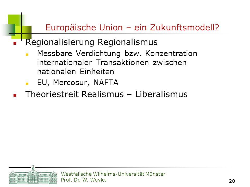 Westfälische Wilhelms-Universität Münster Prof. Dr. W. Woyke 20 Europäische Union – ein Zukunftsmodell? Regionalisierung Regionalismus Messbare Verdic