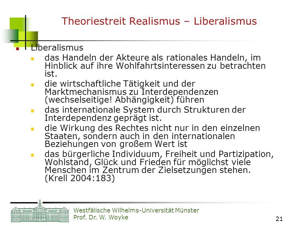 Westfälische Wilhelms-Universität Münster Prof. Dr. W. Woyke 21 Theoriestreit Realismus – Liberalismus Liberalismus das Handeln der Akteure als ration
