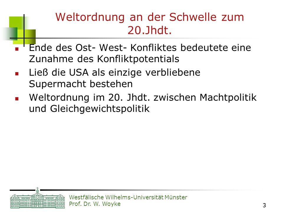 Westfälische Wilhelms-Universität Münster Prof. Dr. W. Woyke 3 Weltordnung an der Schwelle zum 20.Jhdt. Ende des Ost- West- Konfliktes bedeutete eine