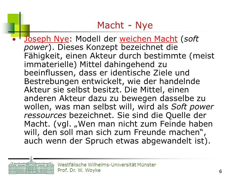 Westfälische Wilhelms-Universität Münster Prof. Dr. W. Woyke 6 Macht - Nye Joseph Nye: Modell der weichen Macht (soft power). Dieses Konzept bezeichne