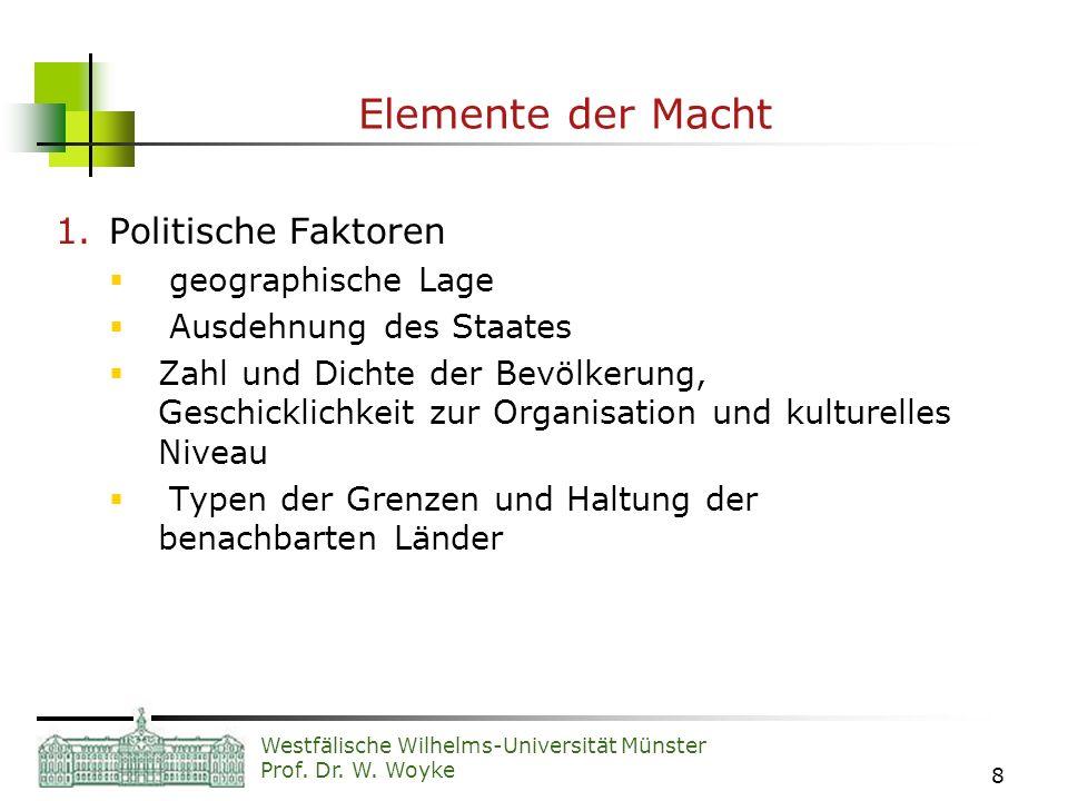 Westfälische Wilhelms-Universität Münster Prof. Dr. W. Woyke 8 Elemente der Macht 1.Politische Faktoren geographische Lage Ausdehnung des Staates Zahl