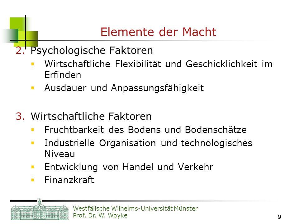 Westfälische Wilhelms-Universität Münster Prof. Dr. W. Woyke 9 Elemente der Macht 2.Psychologische Faktoren Wirtschaftliche Flexibilität und Geschickl