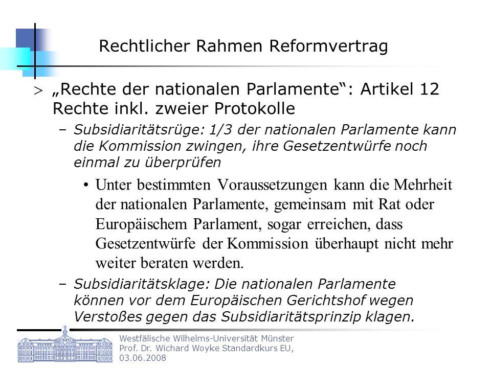 Westfälische Wilhelms-Universität Münster Prof. Dr. Wichard Woyke Standardkurs EU, 03.06.2008 Rechtlicher Rahmen Reformvertrag Rechte der nationalen P