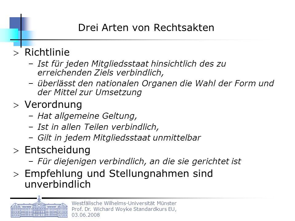 Westfälische Wilhelms-Universität Münster Prof. Dr. Wichard Woyke Standardkurs EU, 03.06.2008 Drei Arten von Rechtsakten Richtlinie –Ist für jeden Mit