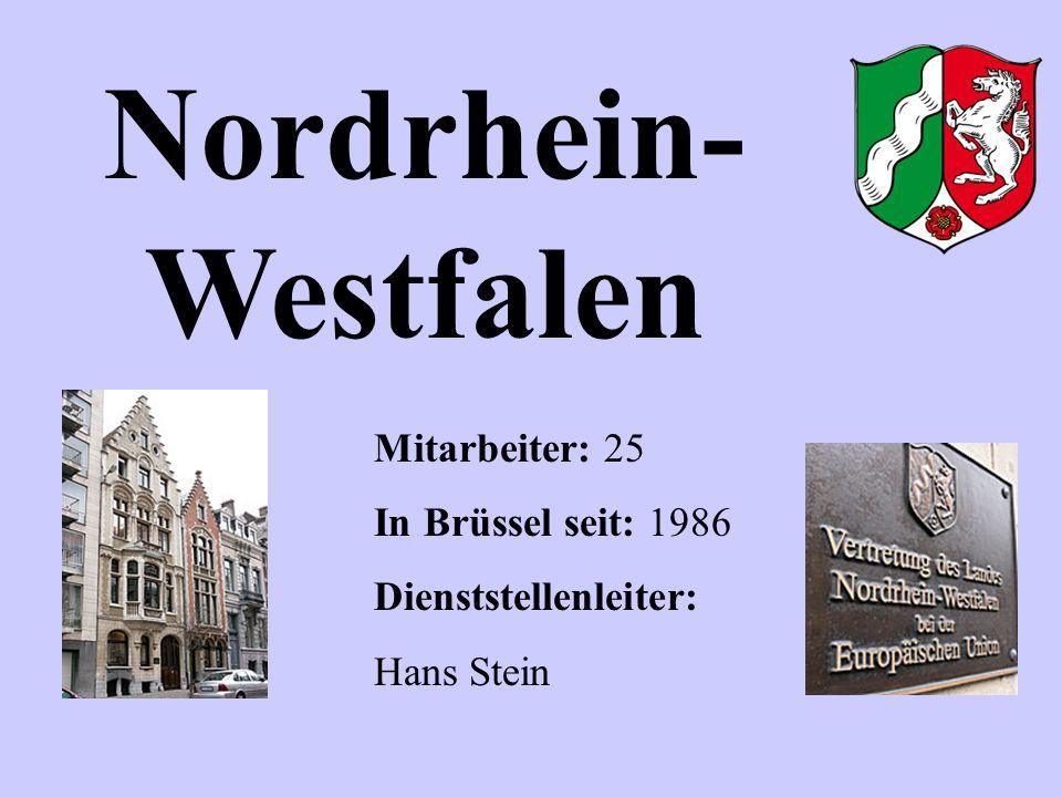 Nordrhein- Westfalen Mitarbeiter: 25 In Brüssel seit: 1986 Dienststellenleiter: Hans Stein