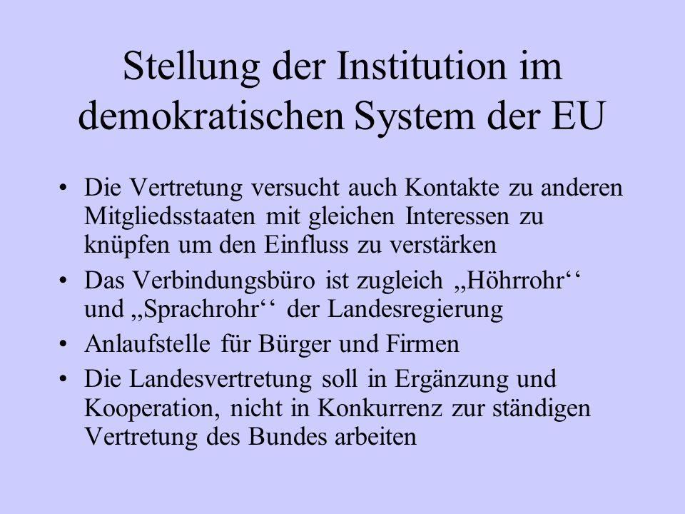 Stellung der Institution im demokratischen System der EU Die Vertretung versucht auch Kontakte zu anderen Mitgliedsstaaten mit gleichen Interessen zu