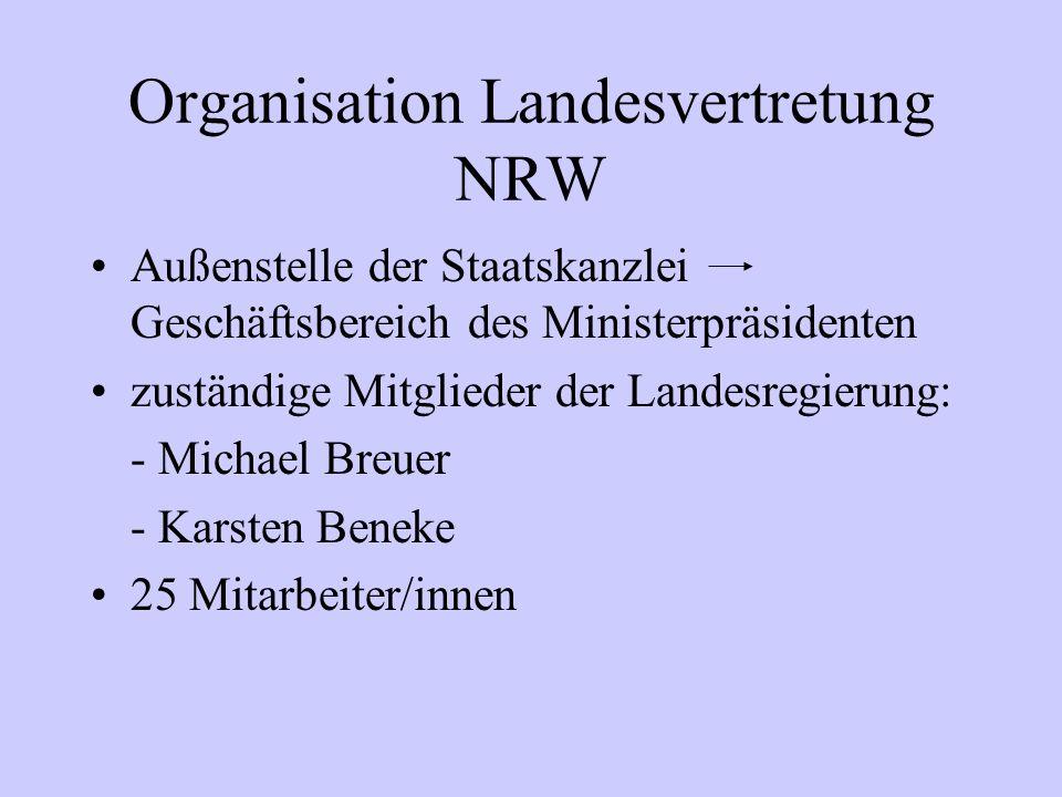 Organisation Landesvertretung NRW Außenstelle der Staatskanzlei Geschäftsbereich des Ministerpräsidenten zuständige Mitglieder der Landesregierung: -