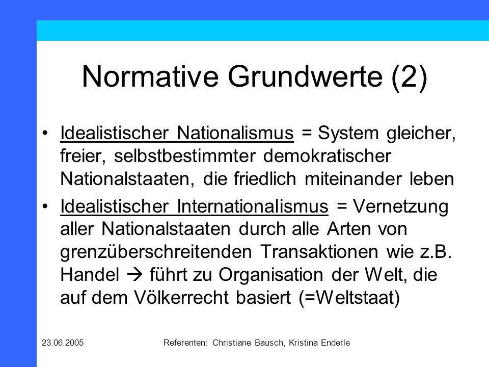 23.06.2005Referenten: Christiane Bausch, Kristina Enderle Normative Grundwerte (2) Idealistischer Nationalismus = System gleicher, freier, selbstbesti