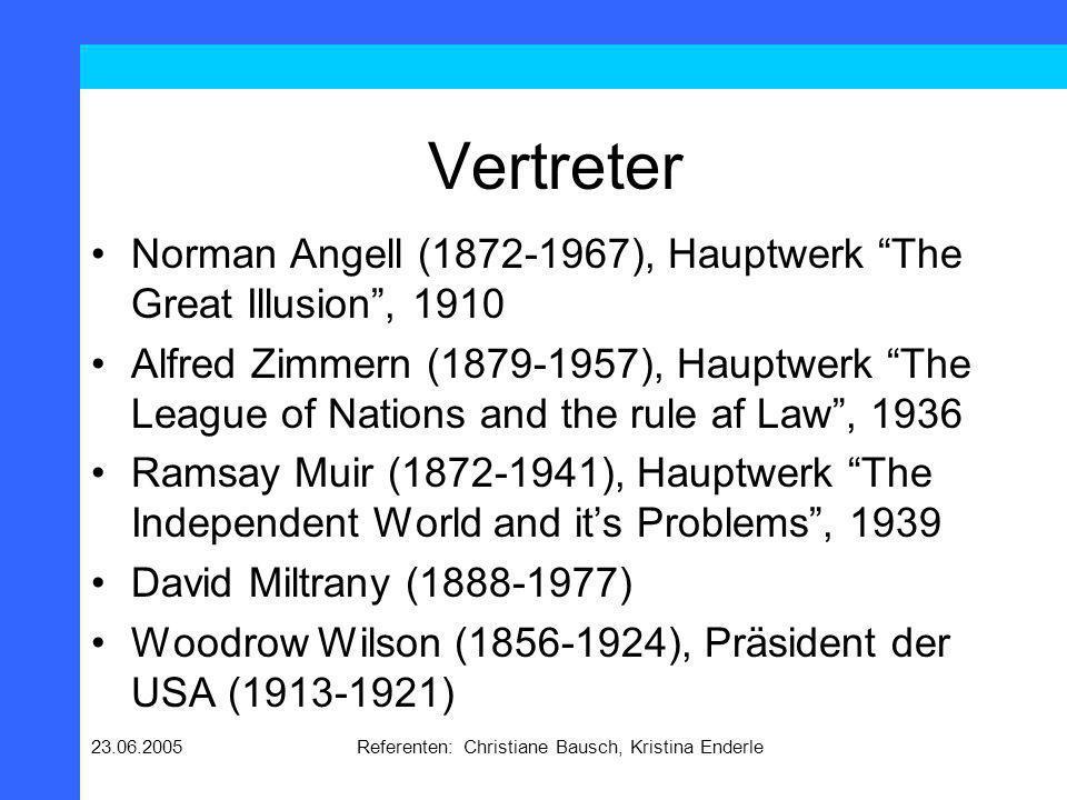 23.06.2005Referenten: Christiane Bausch, Kristina Enderle Vertreter Norman Angell (1872-1967), Hauptwerk The Great Illusion, 1910 Alfred Zimmern (1879