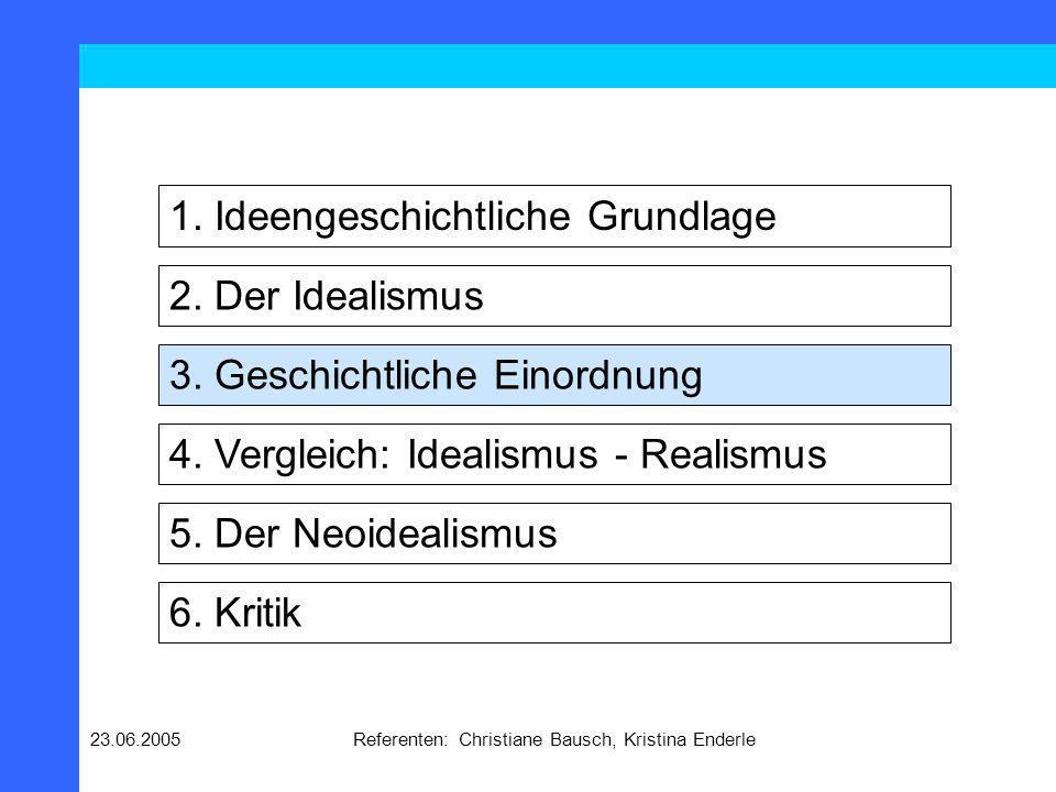 23.06.2005Referenten: Christiane Bausch, Kristina Enderle 2. Der Idealismus 1. Ideengeschichtliche Grundlage 3. Geschichtliche Einordnung 4. Vergleich