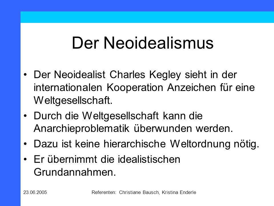 23.06.2005Referenten: Christiane Bausch, Kristina Enderle Der Neoidealismus Der Neoidealist Charles Kegley sieht in der internationalen Kooperation An