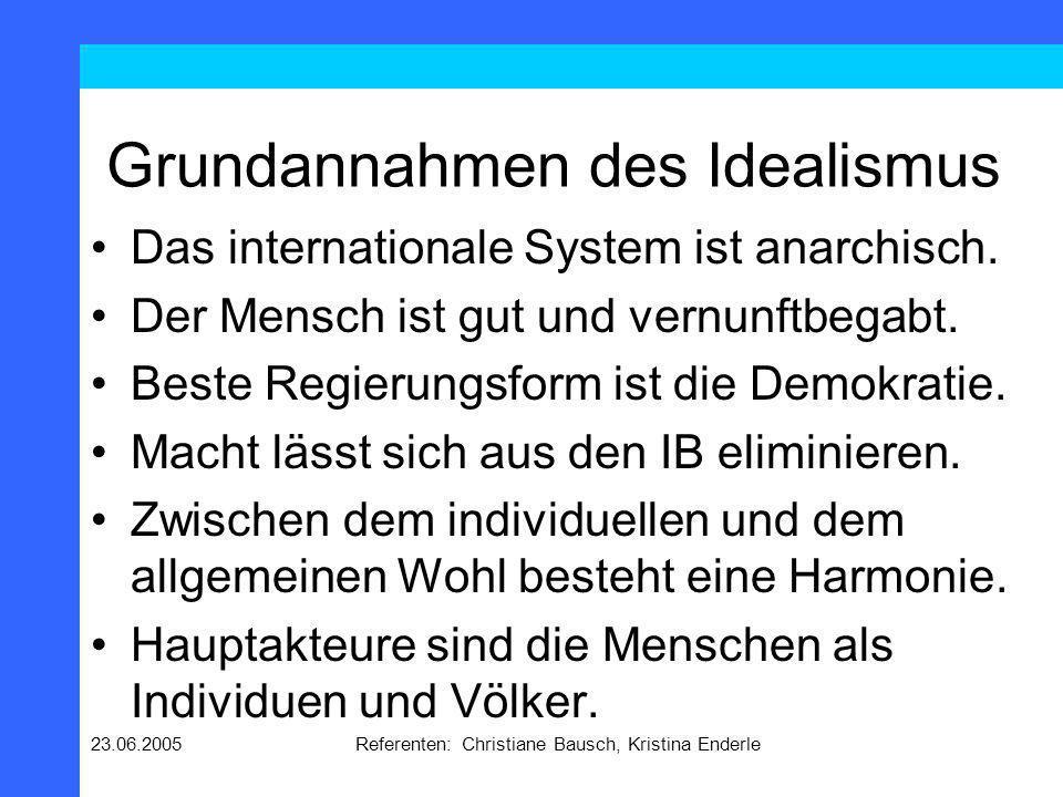 23.06.2005Referenten: Christiane Bausch, Kristina Enderle Grundannahmen des Idealismus Das internationale System ist anarchisch. Der Mensch ist gut un
