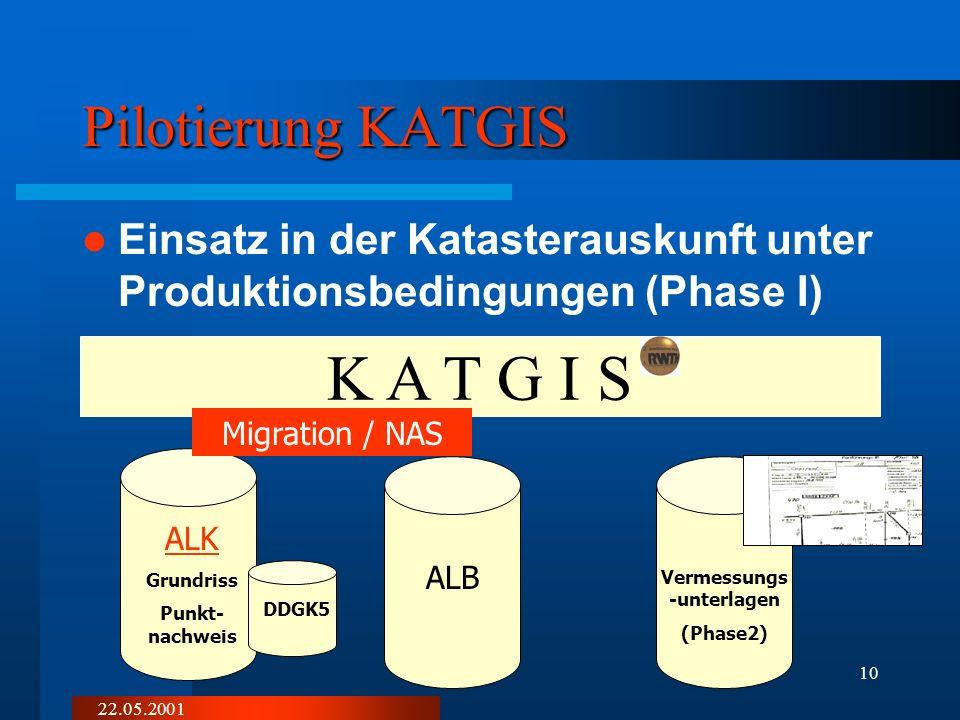 22.05.2001 9 Pilotprojekt Coesfeld, Ziele Einsatz eines standardkonformen ALKIS- Systems im Katasteramtes Möglichkeiten der Zertifizierung aufzeigen I