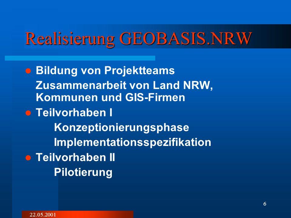 22.05.2001 6 Realisierung GEOBASIS.NRW Bildung von Projektteams Zusammenarbeit von Land NRW, Kommunen und GIS-Firmen Teilvorhaben I Konzeptionierungsphase Implementationsspezifikation Teilvorhaben II Pilotierung
