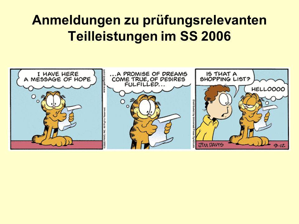 Anmeldungen zu prüfungsrelevanten Teilleistungen im SS 2006
