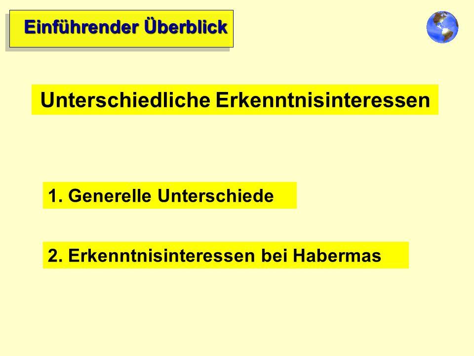 Unterschiedliche Erkenntnisinteressen 1.Generelle Unterschiede 2.