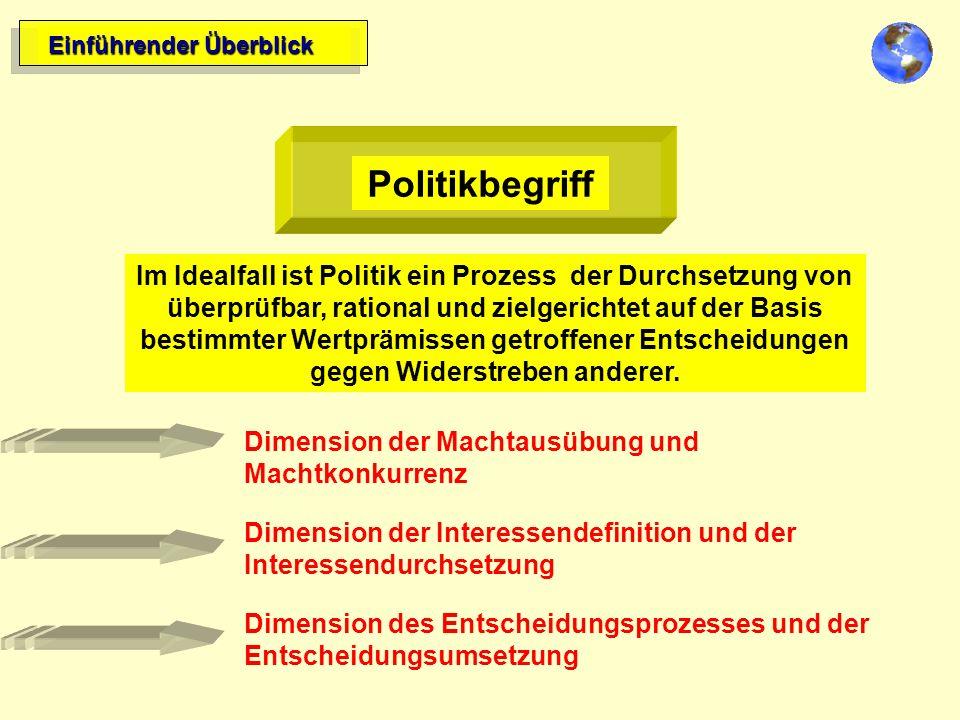 Einführender Überblick Politikbegriff Im Idealfall ist Politik ein Prozess der Durchsetzung von überprüfbar, rational und zielgerichtet auf der Basis bestimmter Wertprämissen getroffener Entscheidungen gegen Widerstreben anderer.