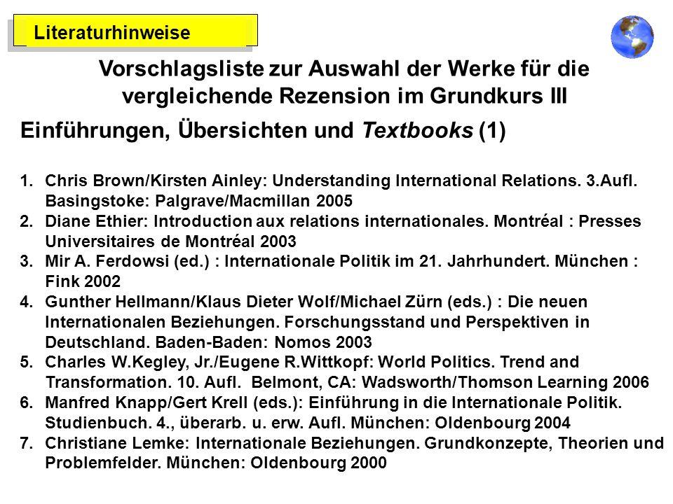 Literaturhinweise Vorschlagsliste zur Auswahl der Werke für die vergleichende Rezension im Grundkurs III Einführungen, Übersichten und Textbooks (1) 1.Chris Brown/Kirsten Ainley: Understanding International Relations.