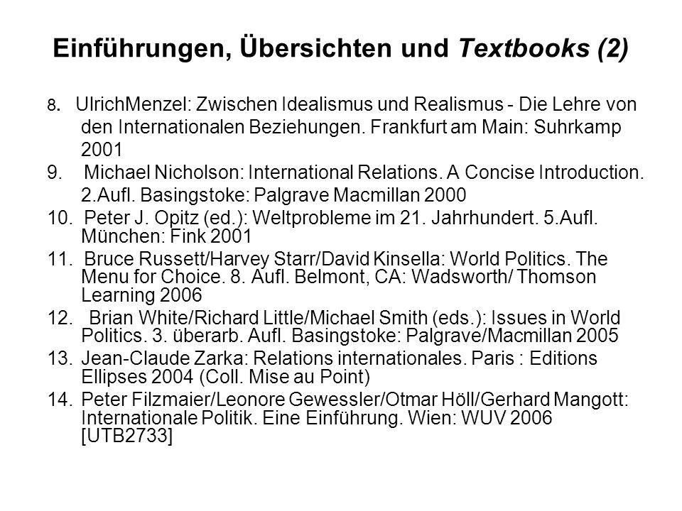 Einführungen, Übersichten und Textbooks (2) 8.