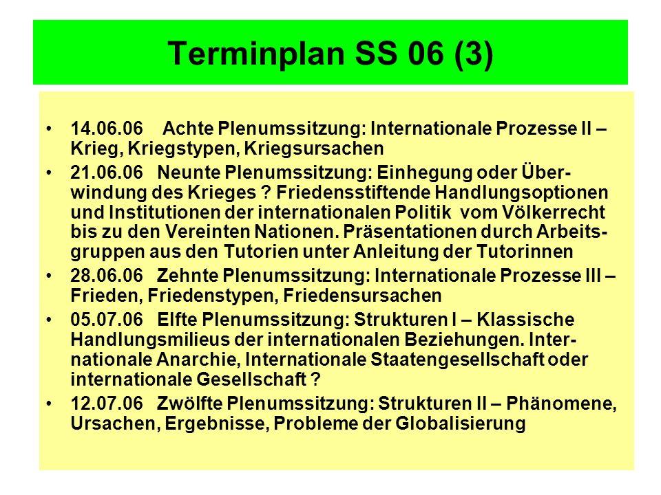 Terminplan SS 06 (3) 14.06.06 Achte Plenumssitzung: Internationale Prozesse II – Krieg, Kriegstypen, Kriegsursachen 21.06.06 Neunte Plenumssitzung: Einhegung oder Über- windung des Krieges .