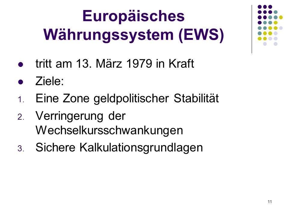 11 Europäisches Währungssystem (EWS) tritt am 13. März 1979 in Kraft Ziele: 1. Eine Zone geldpolitischer Stabilität 2. Verringerung der Wechselkurssch