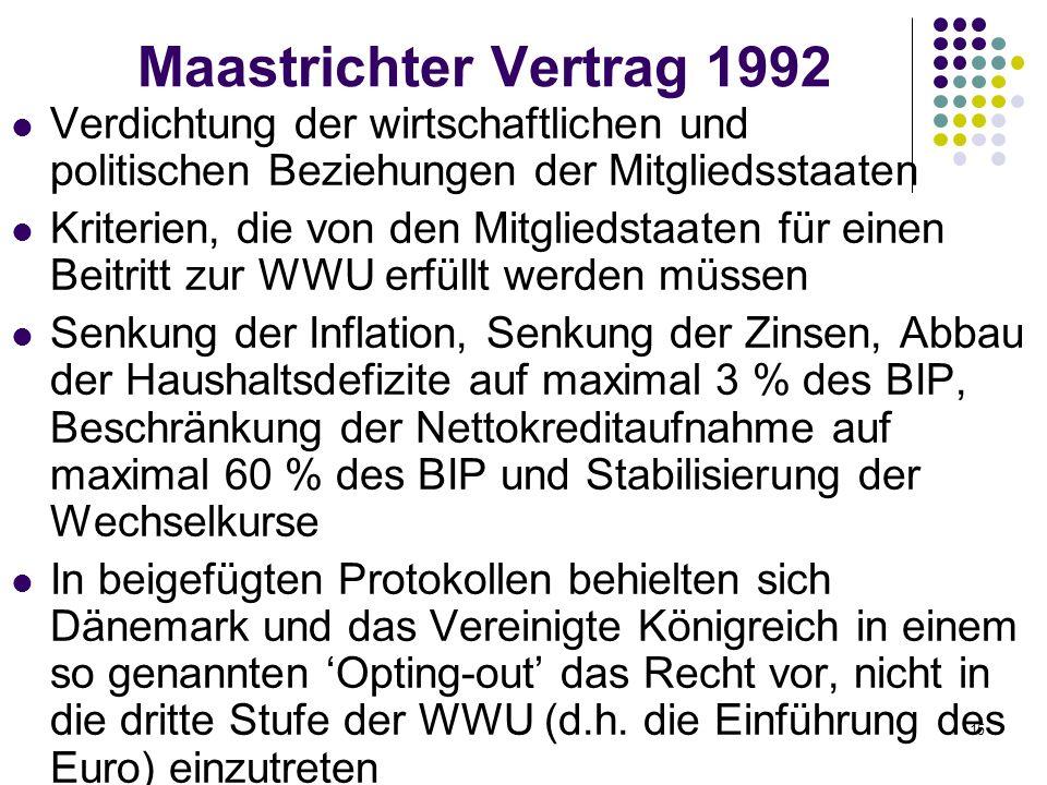 15 Maastrichter Vertrag 1992 Verdichtung der wirtschaftlichen und politischen Beziehungen der Mitgliedsstaaten Kriterien, die von den Mitgliedstaaten