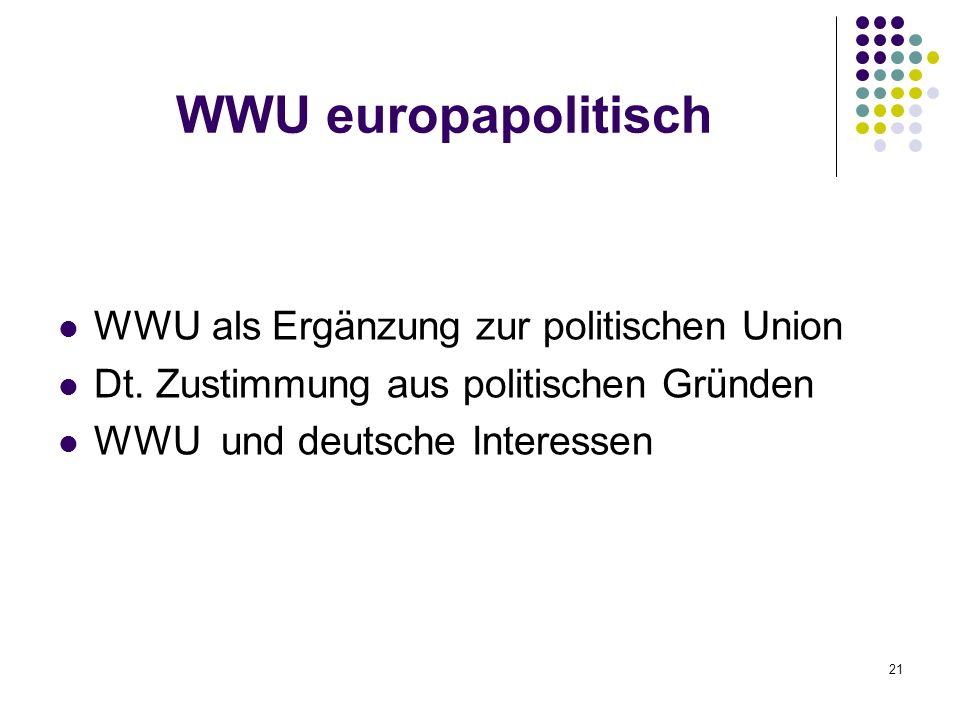 21 WWU europapolitisch WWU als Ergänzung zur politischen Union Dt. Zustimmung aus politischen Gründen WWU und deutsche Interessen