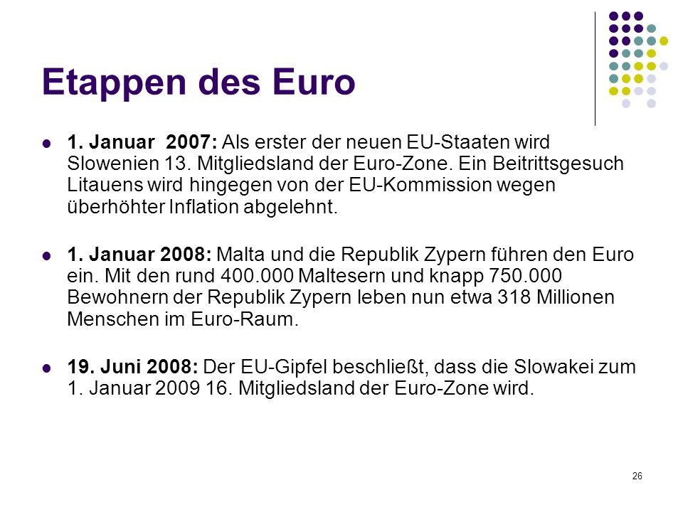 26 Etappen des Euro 1. Januar 2007: Als erster der neuen EU-Staaten wird Slowenien 13. Mitgliedsland der Euro-Zone. Ein Beitrittsgesuch Litauens wird