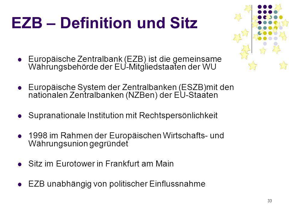 33 EZB – Definition und Sitz Europäische Zentralbank (EZB) ist die gemeinsame Währungsbehörde der EU-Mitgliedstaaten der WU Europäische System der Zen