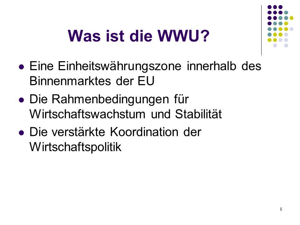 17 Ziele der WWU Ziel der WWU ist die Harmonisierung der Wirtschafts- und Währungspolitik der EU- Mitgliedstaaten im Hinblick auf die Einführung des Euro als gemeinsame Währung.