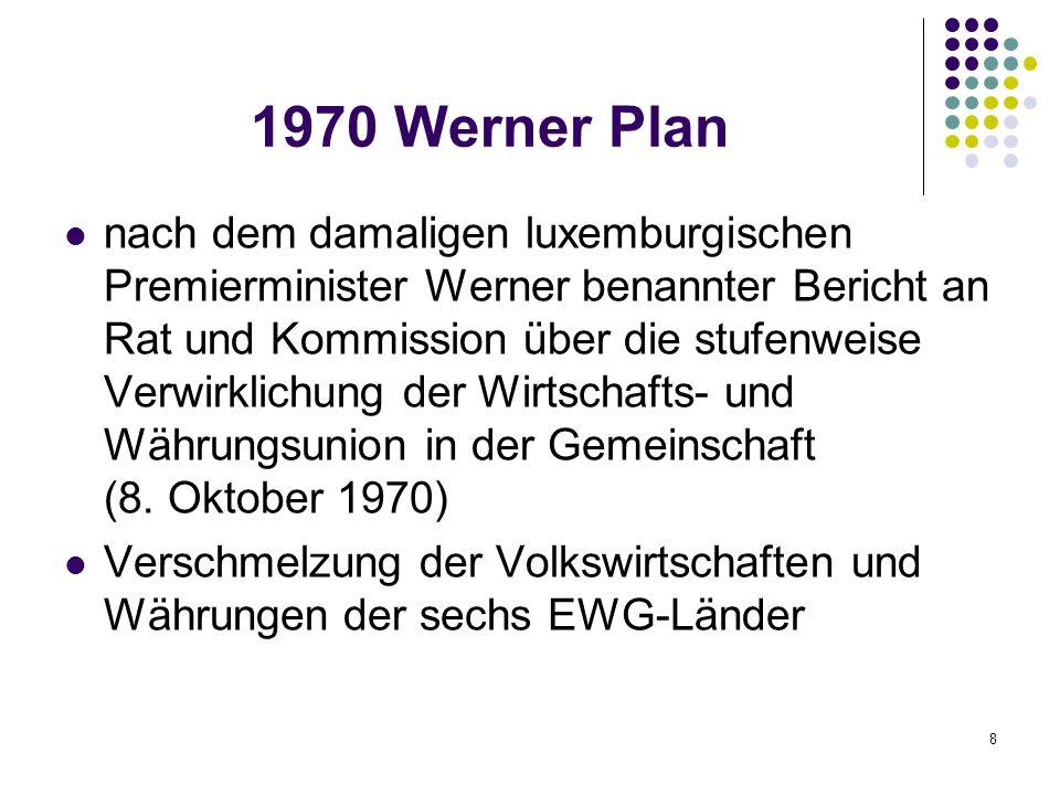 8 1970 Werner Plan nach dem damaligen luxemburgischen Premierminister Werner benannter Bericht an Rat und Kommission über die stufenweise Verwirklichu