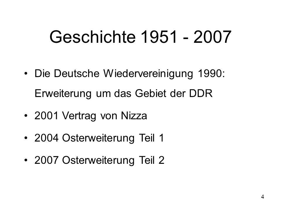 4 Geschichte 1951 - 2007 Die Deutsche Wiedervereinigung 1990: Erweiterung um das Gebiet der DDR 2001 Vertrag von Nizza 2004 Osterweiterung Teil 1 2007 Osterweiterung Teil 2