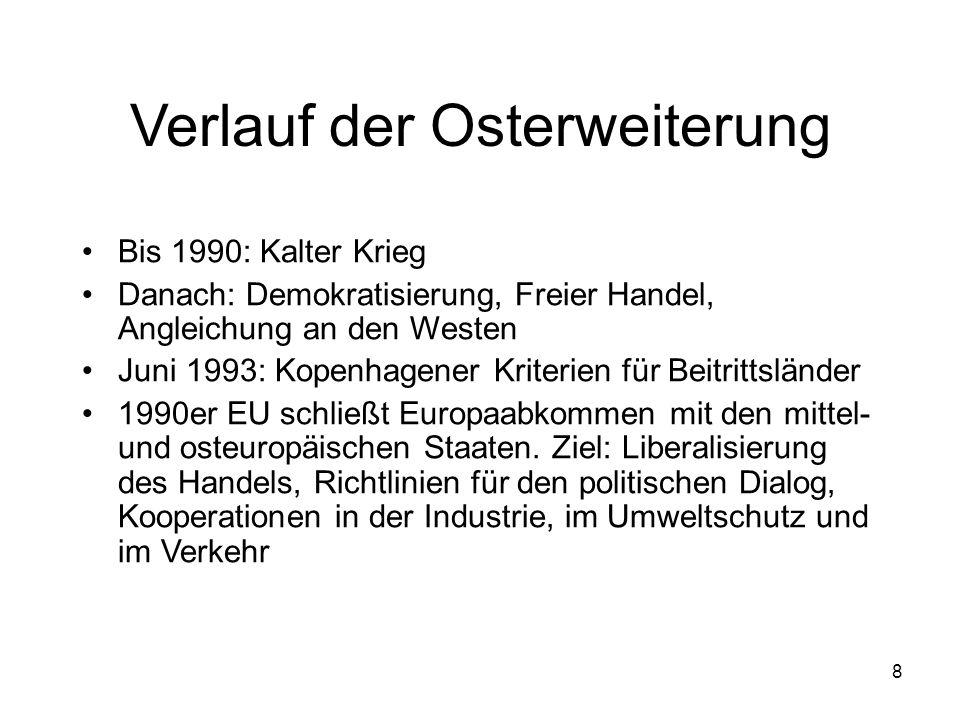 8 Verlauf der Osterweiterung Bis 1990: Kalter Krieg Danach: Demokratisierung, Freier Handel, Angleichung an den Westen Juni 1993: Kopenhagener Kriterien für Beitrittsländer 1990er EU schließt Europaabkommen mit den mittel- und osteuropäischen Staaten.