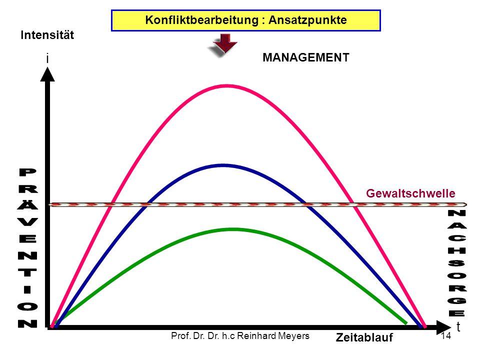 Prof. Dr. Dr. h.c Reinhard Meyers14 Konfliktbearbeitung : Ansatzpunkte Intensität i Zeitablauf t Gewaltschwelle MANAGEMENT