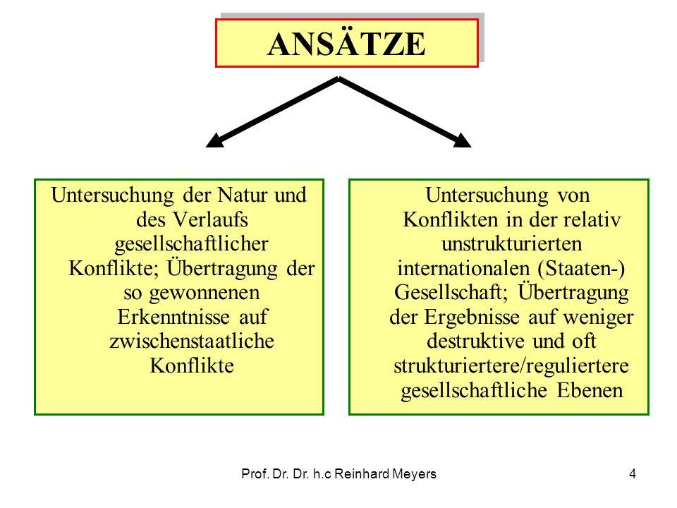 Prof. Dr. Dr. h.c Reinhard Meyers4 ANSÄTZE Untersuchung der Natur und des Verlaufs gesellschaftlicher Konflikte; Übertragung der so gewonnenen Erkennt