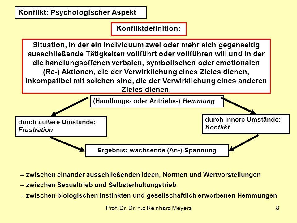 Prof. Dr. Dr. h.c Reinhard Meyers8 Situation, in der ein Individuum zwei oder mehr sich gegenseitig ausschließende Tätigkeiten vollführt oder vollführ