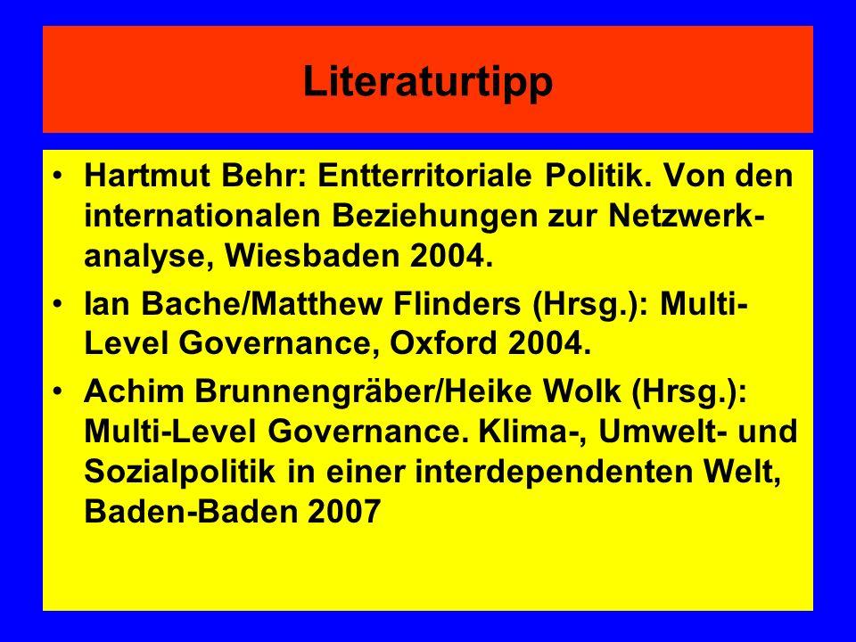 Literaturtipp Hartmut Behr: Entterritoriale Politik. Von den internationalen Beziehungen zur Netzwerk- analyse, Wiesbaden 2004. Ian Bache/Matthew Flin
