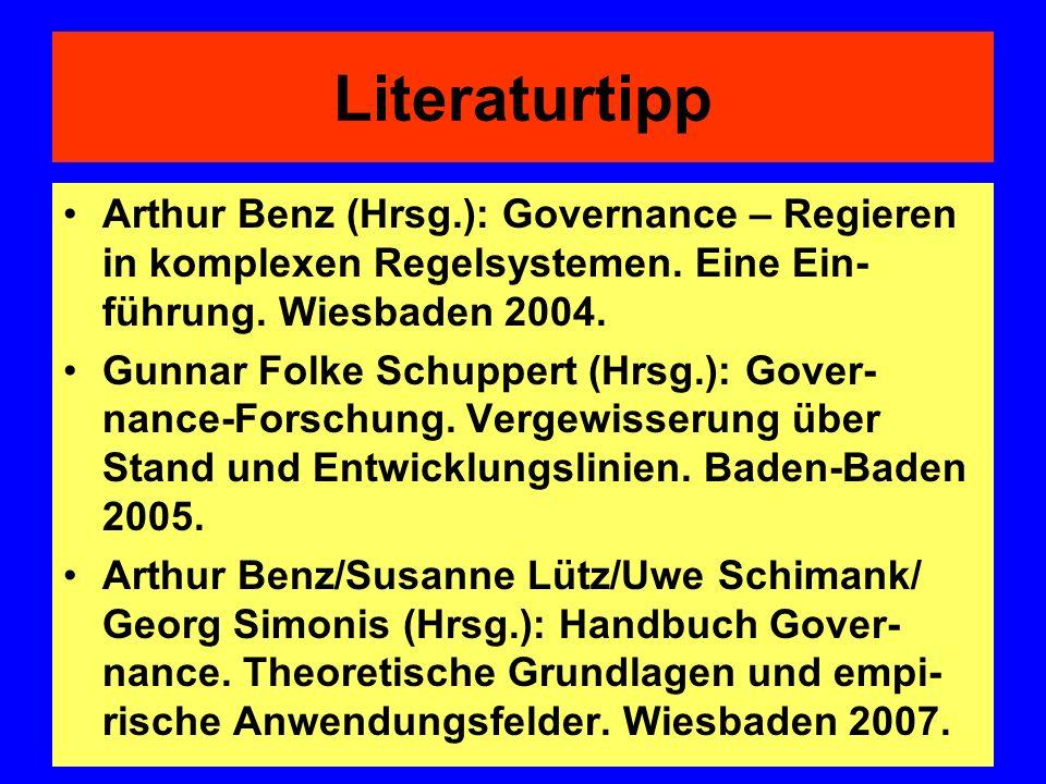 Literaturtipp Arthur Benz (Hrsg.): Governance – Regieren in komplexen Regelsystemen. Eine Ein- führung. Wiesbaden 2004. Gunnar Folke Schuppert (Hrsg.)