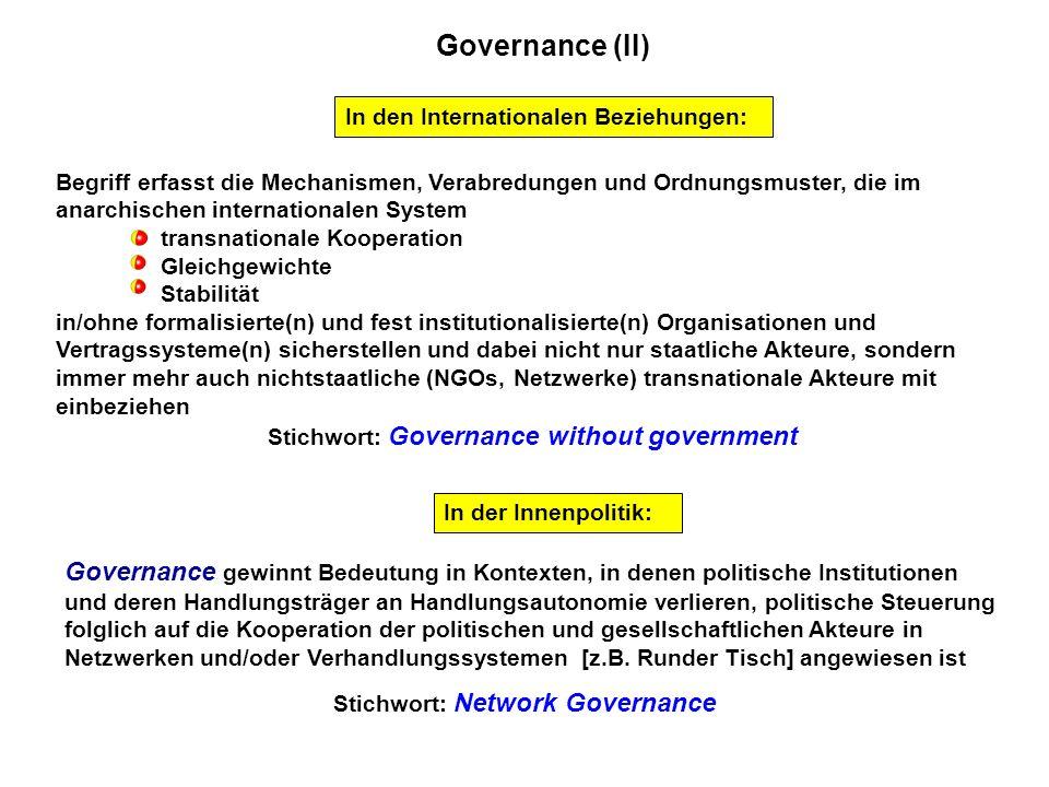 Governance (II) Begriff erfasst die Mechanismen, Verabredungen und Ordnungsmuster, die im anarchischen internationalen System transnationale Kooperati